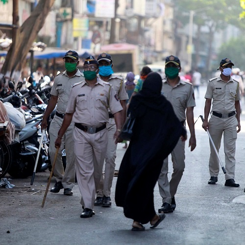 Police personnel patrol during a government-imposed nationwide lockdown as a preventive measure against the COVID-19 coronavirus, in Mumbai. (ANI Photo)