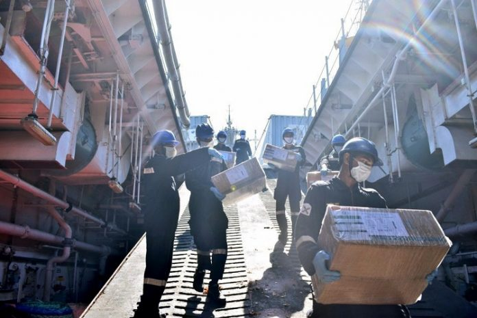 Indian Naval Ship Kesari has departed for Maldives, Mauritius, Seychelles, Madagascar, and Comoros, to provide food items, #COVID19 related medicines including HCQ tablets and special ayurvedic medicines with medical assistance teams embarked on Sunday. (ANI Photo)