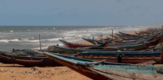 Fishermen boats anchored at Puri beach who were advised not to venture into the sea ahead of warnings of cyclone Amphan making landfall in coastal Odisha during the ongoing COVID-19 nationwide lockdown, in Puri district on Saturday. (ANI Photo)