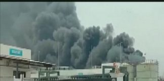 Smoke at Yashashvi Rasayan Private Limited (Photo: ANI)