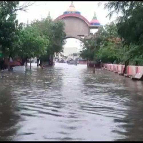 Gujarat: Severe waterlogging in parts of Dwarka, following heavy rainfall. (Photo: ANI)