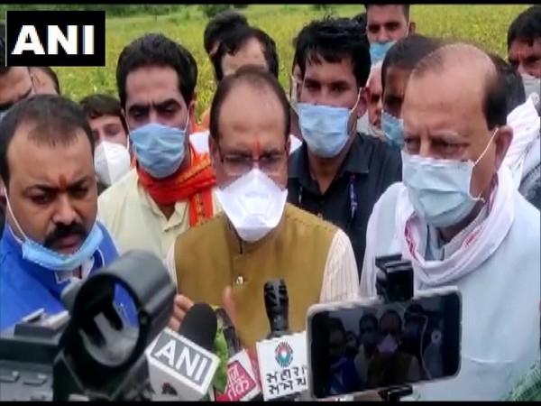 CM Shivraj Singh Chouhan reviews crop loss in rain-hit Dewas [Photo/ANI]