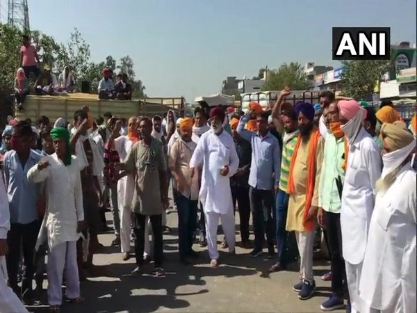 Farmers staged a protest on Ambala-Hisar Highway in Ambala on Wednesday. (Photo/ANI)