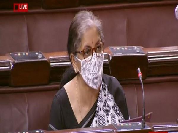 Union Finance Minister Nirmala Sitharaman speaking at the Rajya Sabha on Saturday.