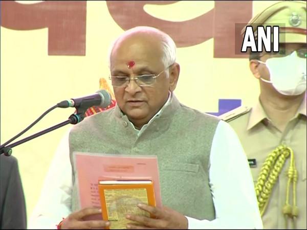 Bhupendra Patel taking oath as Gujarat Chief Minister in Gandhinagar (Photo/ANI)